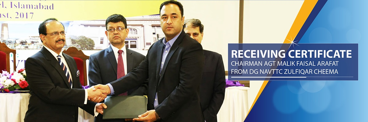 AGT Ceo Malik Faisal Arfat receiving certificate f